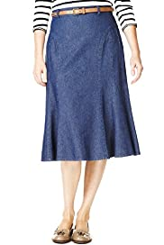 Classic Collection Pure Cotton Panelled Denim Skirt with Belt
