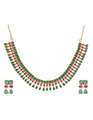 Ganapathy Gems 1 Gram Gold Plated Necklace Set With Ruby And Green CZ Stones
