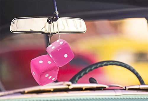 Zento-Deals-Pair-of-3-inch-Square-Pink-Hanging-Fuzzy-Dice-with-White-Dots