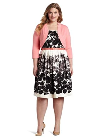 Size Black Dress on Plus Size Springtime In The Garden 2 Piece Belted Dress  Black White