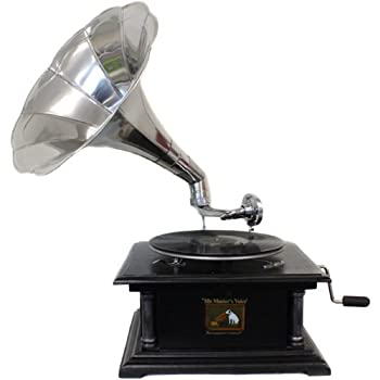 EcWorld Enterprises 7726664 Antique Replica Rca Victor Phonograph Gramophone With Large Silver Metal Horn