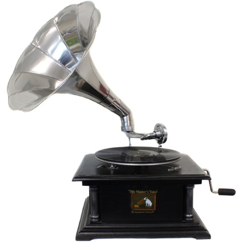 EcWorld Enterprises 7726664 Antique Replica Rca Victor Phonograph Gramophone With Large Silver Metal Horn 0