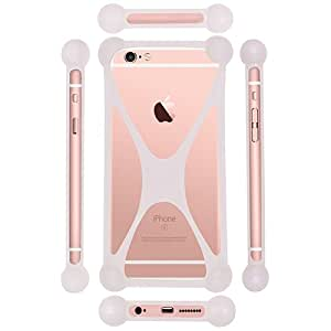 Casotec Universal Silicone Bumper Frame Soft Gel Phone Case Cover for Micromax Canvas HD Plus A190 - White