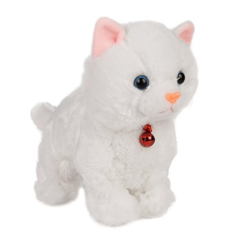 Electronic Toy Cat Kitten Pet Robot Cat Interactive For Children Kids Funny Walking Meow Sound Toys Plush Cat (White)