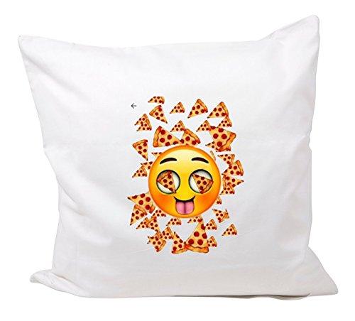 """Federa 40x40 """"Pizza Emoji con la faccia felice e la fame"""" in microfibra, Smiley, Emoji, cuscini, decorativi, Mesh, cuscino del collo, IPhone, emoticon."""