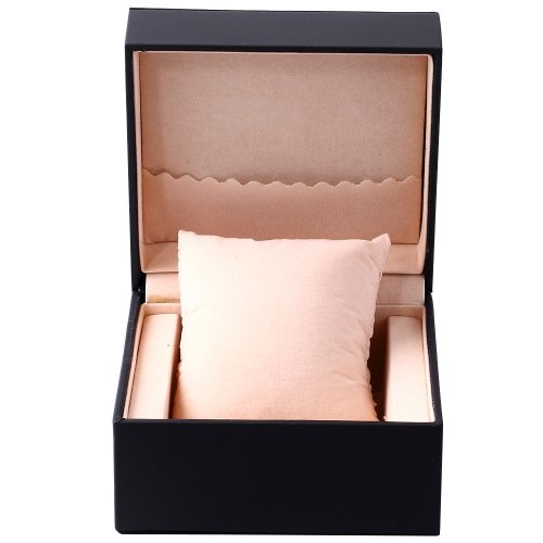 Luxury Black PU Leather Elegant Solid Black Watch Jewelry Gift Box Case With Pillow WTL054