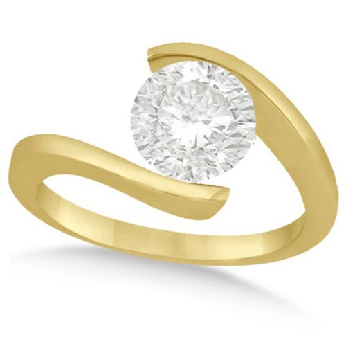 Ladies Tension Set, Twisted Solitaire Diamond Engagement Ring, Bypass Style 14K Yellow Gold 1.50Ct
