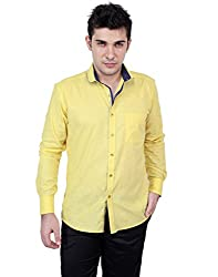 Zeal 100% Cotton Fluorescent Yellow-Blue Casual-Formal Shirt