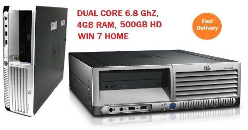 HP 6.8Ghz DUAL CORE 4GB WINDOWS 7 DESKTOP PC TOWER SFF COMPUTER NEW ATI GFX