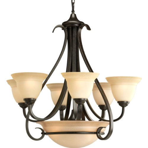 B0014H8MS0 Progress Lighting P4417-77 6-Light Two-Tier Torino Chandelier, Forged Bronze