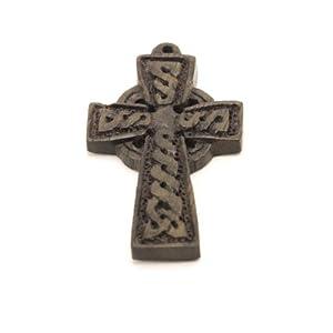 81stgeneration Brown carved Irish Celtic cross wood pendant necklace