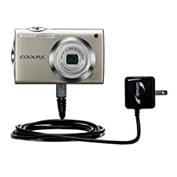 Gomadic Intelligent Compact AC Home Wall Charger suitable for the Nikon Coolpix S4000 - High output power with a convenient, foldable plug design - Uses TipExchange Technology