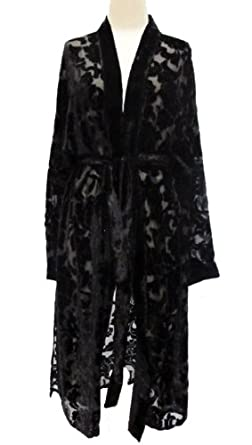 Hand Dyed Floral Burnout Cut Silk Velvet Devore Kimono Duster Black One Size