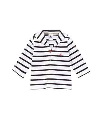 Petit Bateau - Pull - À rayures - Bébé garçon - Multicolore (Ecume/Abysse) - FR: 6 mois (Taille fabricant: 6 Mois)
