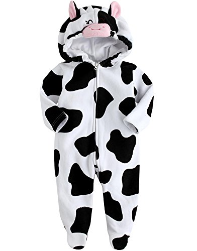 Vaenait Baby 6-24M Winter Fleece Hoodie Jumpsuit Romper Animal Milk Cow 18-24M