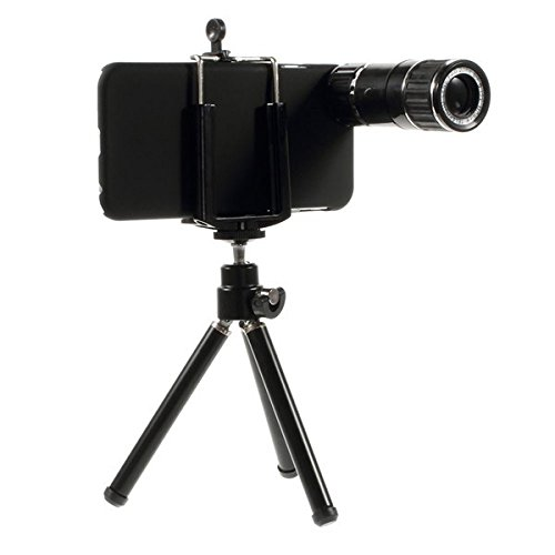 """Walsontop™ Silver 12X 90 Degree Magnifier Zoom Optical Magnification Mobile Phone Manual Focus Telephoto Phone Camera Lense Kit With Tripod & Case For Apple Iphone 6 4.7"""""""