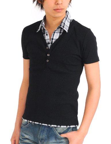 カットソー 半袖 メンズ ポロシャツ ポロ  Vネック レイヤード インナー【Q754】 (L, S/ブラック)