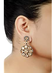 E-designs Rhodium / Gold Plated Earring With CZ Stone Alongwith Colour Stones Studded For Women - B00LM9S8D4