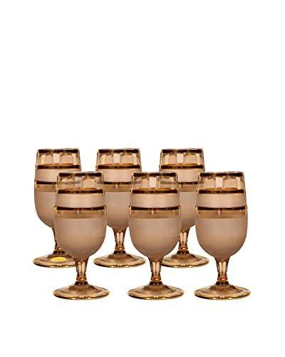 Set of 6 Stemmed Glasses, Brown/Gold
