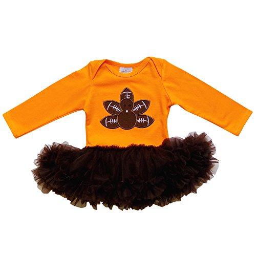 So Sydney Baby Toddler Boy or Girl Football Onesie Romper Girls w/ Chiffon Skirt (XL (18-24 Months), Turkey Football with Skirt) (Baby Girl Football Outfit compare prices)