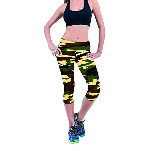 CreazyDog® High Waist Fitness Yoga Sport Pants Stretch Cropped Leggings (Green, M)