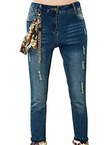 Elf Sack Womens Autumn Jeans Washing White Decorated Floral Scarf Medium Size Blue