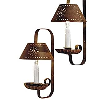 Collections Etc - Country Primitive Tin Punch Candle Sconce Wall Lamp Set - - Amazon.com