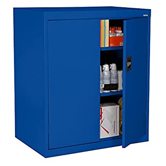 "Sandusky Lee EA2R362442-06 Elite Series Counter Height Storage Cabinet, 3 Shelves, 36"" Width x 24"" Length x 42"" Height, Blue"