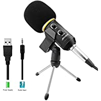 Archeer Podcast Recording Microphone with Stand (Black)