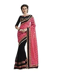 Indian Women Chiffon Pink And Black Saree