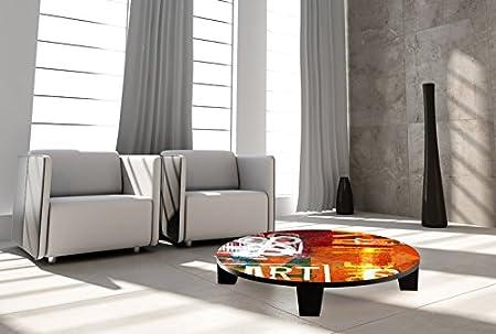 "TAF DECOR ""Art Street"" Art Coffee Table, 35"" X 35"" X 7.5"", Multicolored"