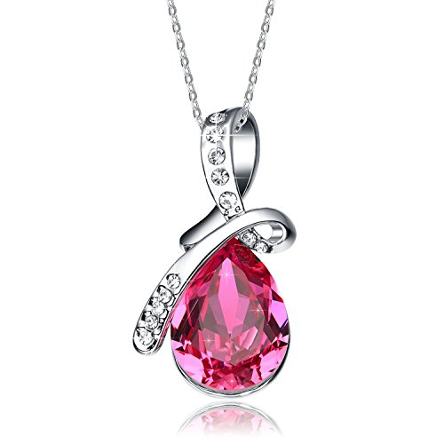 Christmas Gifts Deals NEEMODA Womens Pink Crystal Pendant Necklace White Gold Plated Chain Fashion Jewelry Gifts