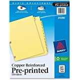 Avery Copper Reinforced Preprinted Dividers with JAN-DEC Tabs, 12-Tab Set, 1 Set (24286)