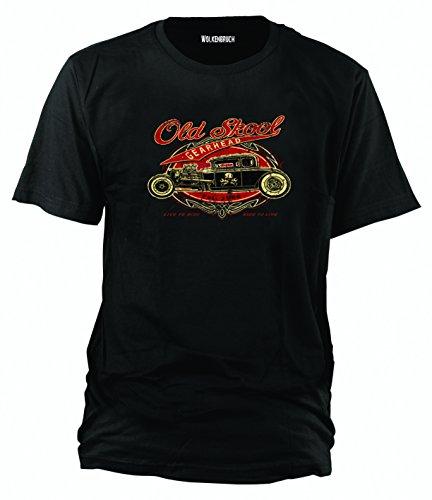 """Sputnik Shirts - Maglietta """"Old Skool Hot Rod Gearhead, Ride to Live"""", disponibile in blu o nero, taglie da S a 5XL, Nero (nero), xxl"""