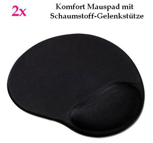 smartec24® 2x Komfortmauspad in schwarz. Mauspad aus Schaumstoff mit bequemer Schaumstoff-Gelenkstütze (Handballenauflage)