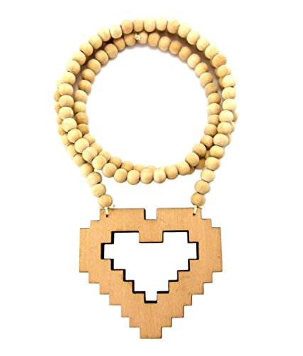 "Pixelated Heart Wood Pendant 36"" Wooden Bead Chain Necklace in Natural-Tone WJ159NL"