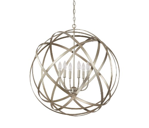 B00BZ9R1CK Capital Lighting 4236WG Axis 6-Light Pendant, Winter Gold Finish