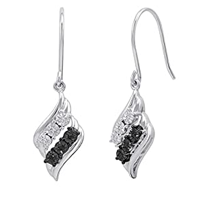Black and White Diamond Dangle Earrings in .925 Sterling Silver