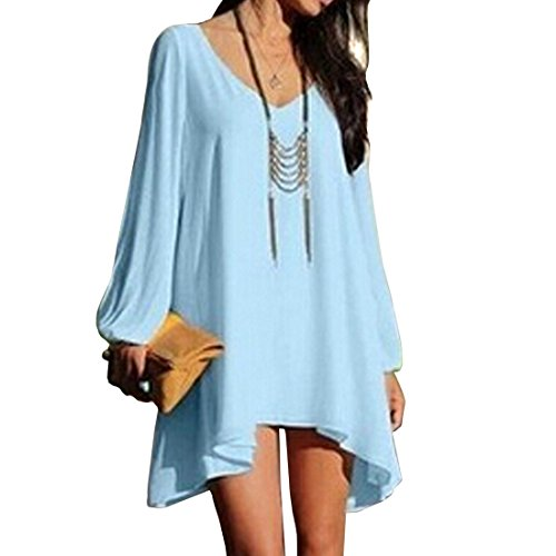 Women's Long Batwing Sleeve Mini V-Neck Irregular Hem Casual Loose Chiffon Dress (Amazon Maternity compare prices)