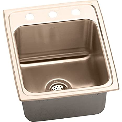 "Elkay DLR172210MR2-CU 18 Gauge CuVerro Antimicrobial Copper 17"" x 22"" x 10.125"" Bowl Top Mount Sink"