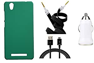 XUWAP Hard Case Cover With Car Charger,Data Cable & Aux Cable For Gionee F103 - Green