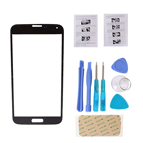 Teennitor(Tm)Screen Glass Lens Repair Kit Replacement Kit For Samsung Galaxy S5 I9600 With Tools And Tutorial Ship From Usa (Black)