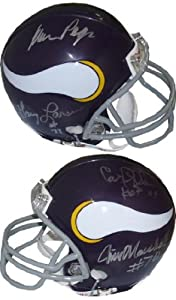 Jim Marshall signed Minnesota Vikings Replica Mini Helmet- 4 signatures by Athlon Sports Collectibles