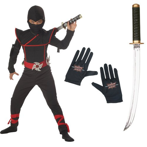 Stealth Ninja kids Costume, Gloves, Sound Effects Ninja Sword Kit, Husky (10-12)