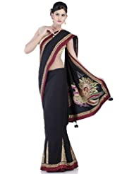 Chhabra555 Black Cotton One Minute Saree