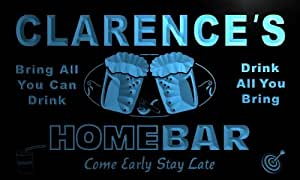 p094-b Clarence's Home Bar Beer Family Last Name Neon Light Sign