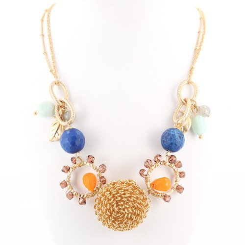 Sunflower Necklace with Citrine, Agate, Sodalite, Crystal and Quartz Gemstone Beads in 18K Gold Plated Brass, Adjustable Length from 16