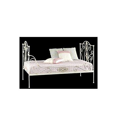 Sofá cama de forja Princesa - Azul Caspio, Somier con medidas de 90x190 cm.