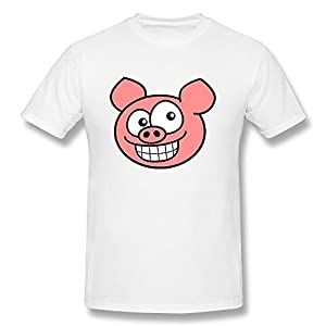Men's Short Sleeves T Shirts Grin Pig Smiley Face Cotton