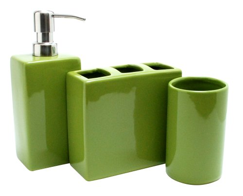 Nuvo Design 3 Piece Nova Ceramic Bath Set, Moss